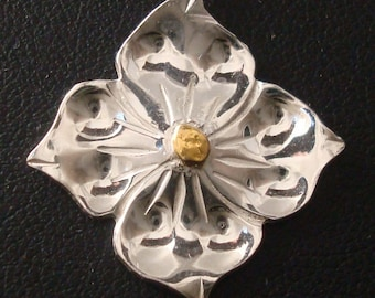 Dogwood Pendant - Sterling Silver and Natural Gold Nugget