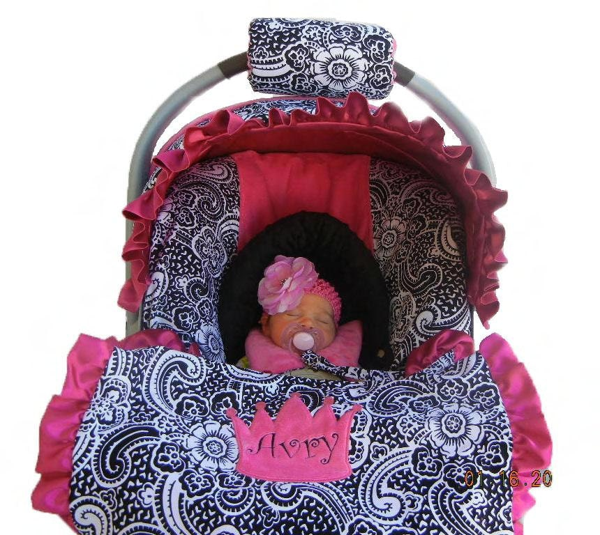 Baby Car Seat Cover Paisley With Hot Pink Minky Dot Seat