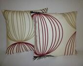 """Funky Retro Red Cushion Covers Taupe Black White Designer Pillowcases, Shams, Slips.Scatter Orbital. Pair 16"""" (40cm)"""