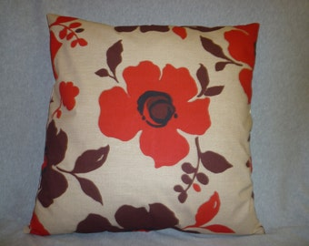 """Cyber Monday Sale BIG 22"""" Funky Retro Red Brown Black Designer Cotton Cushion Cover's.Floral Pillowcases Shams Slips"""