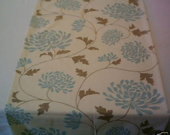 """Bed Runner Throw Duck Egg Blue Brown Cream Funky Retro Floral Over 6ft (2mts long-78"""")"""