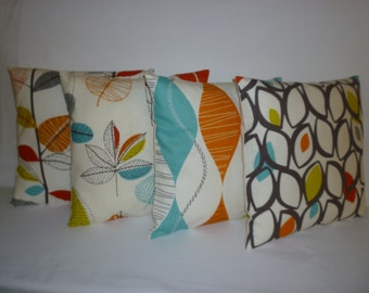 "4 Orange Designer Pillows Cushion Covers Shams Slips Scatter  Accent Throws 16"" (40cm)"