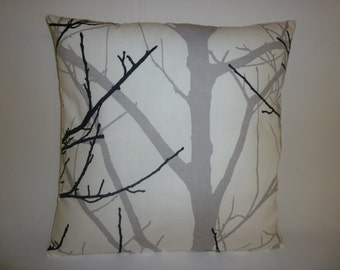 Funky Cushion Cover Gray/Grey Black White Tree Designer  Retro Cotton  Pillowcase Sham Throw