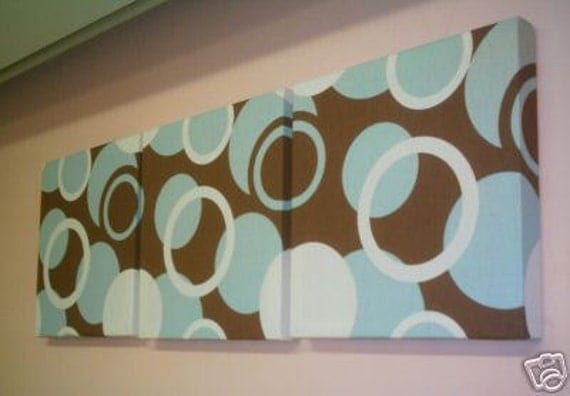 Fabric wall art duck egg blue brown funky fabric designer for Blue and brown wall art