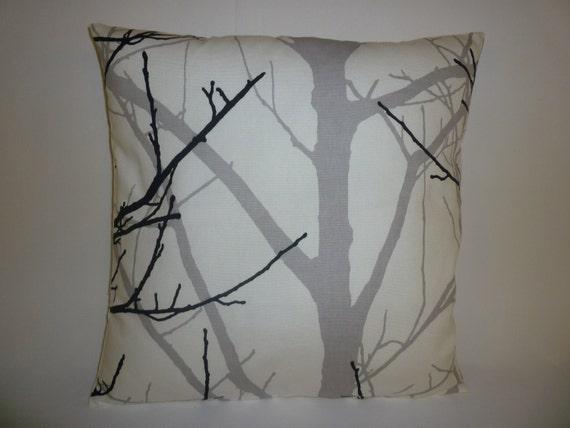 Funky Cushion Cover Gray/Grey Black White Tree Designer  Retro Cotton  Pillowcase Sham Throw