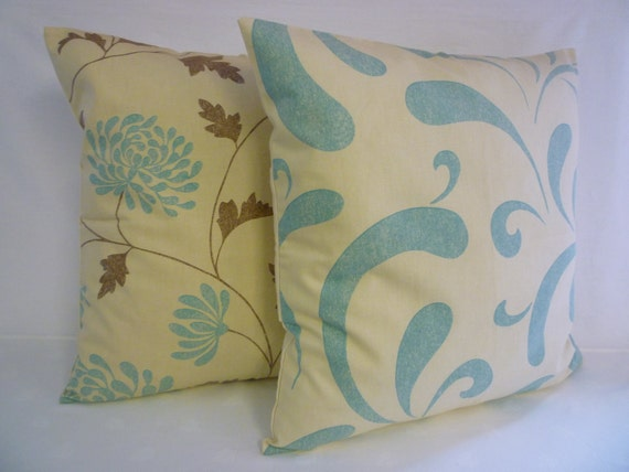 """PAIR Duck Egg Blue Cream BIG Modern Funky Retro Designer Cushion Covers. Pillowcases, Shams,2 x 22"""""""