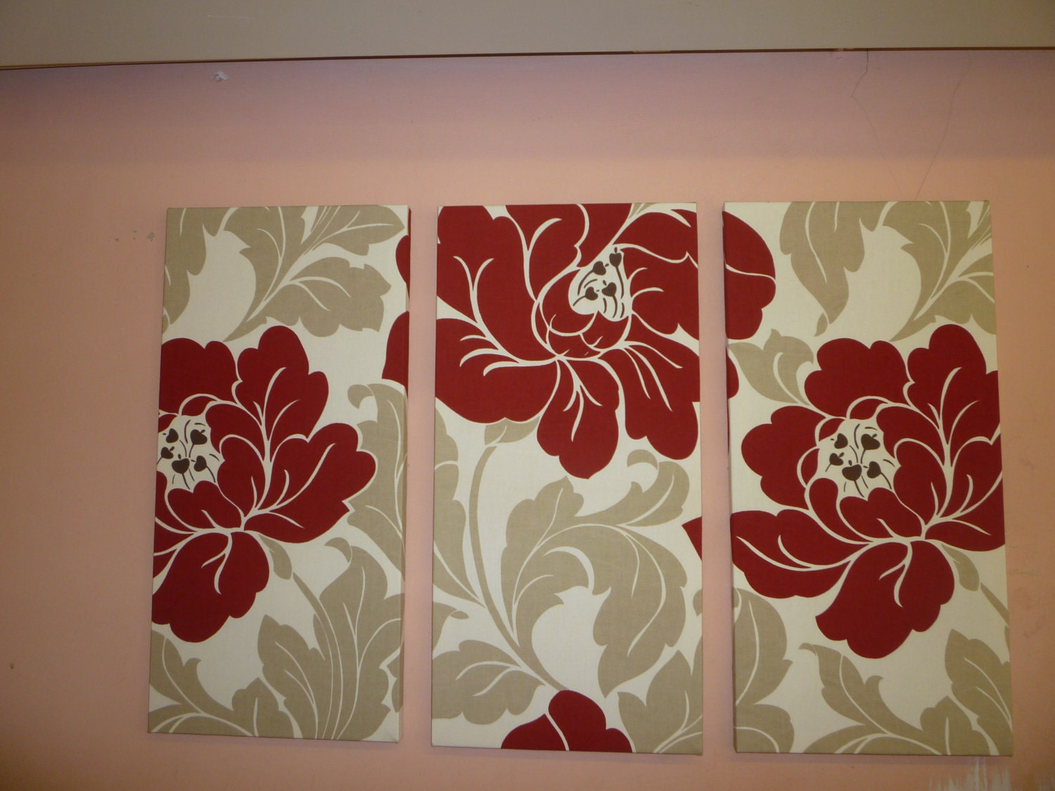 Red big fabric wall art red cream taupe funky retro by for Fabric wall art