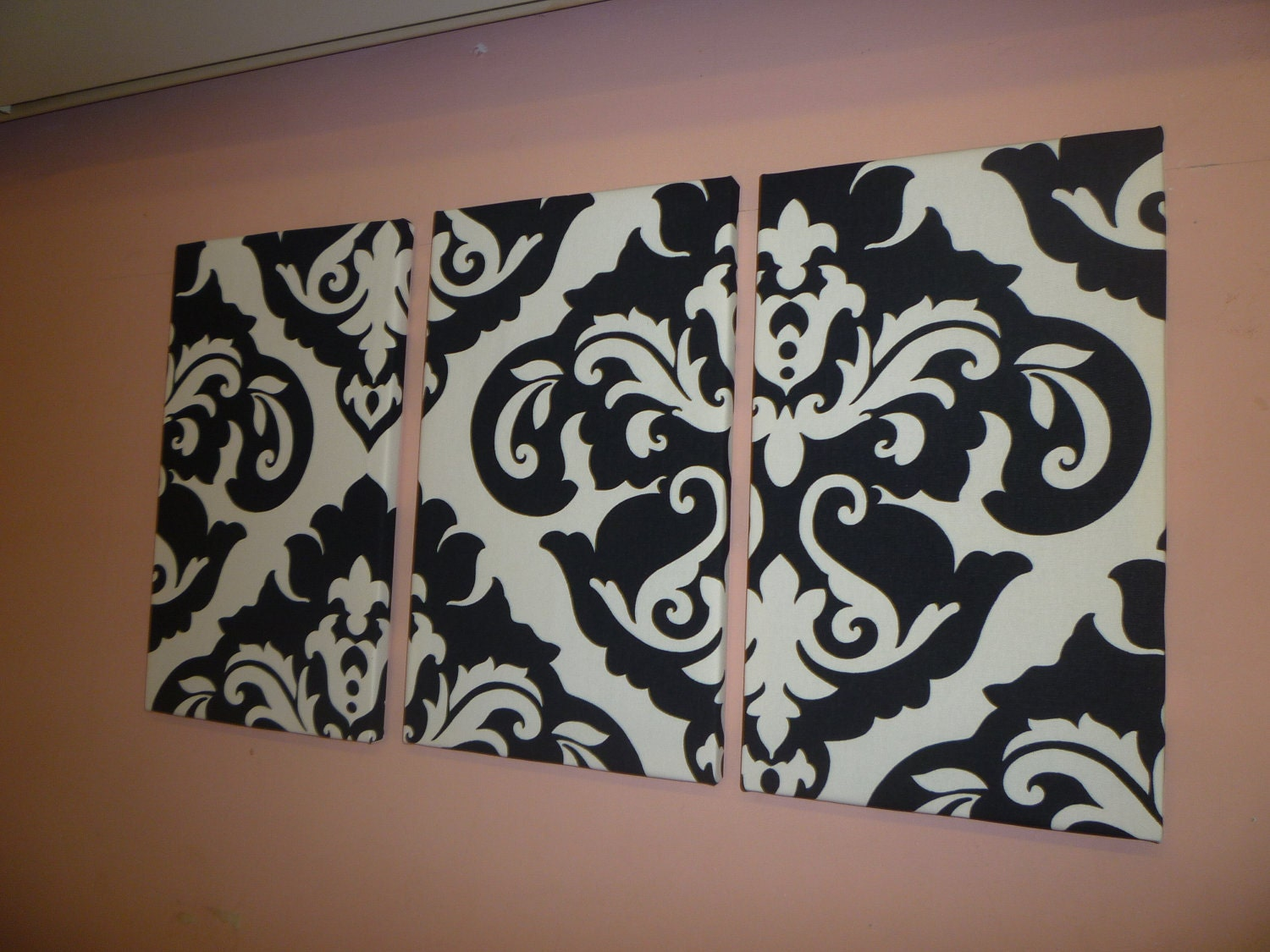 Black white damask fabric wall art funky retro by wickedwalls for Fabric wall art