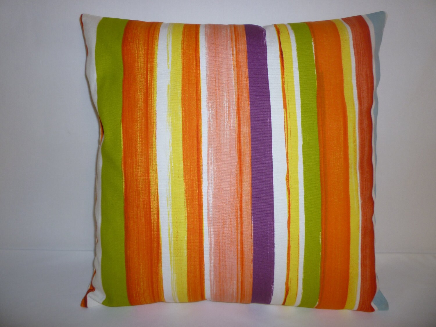 Cushion Cover Orange Lime Green Stripe Designer By Wickedwalls