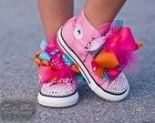 RAINBOW SHERBERT Converse Bling Pink High Tops for Size Infant 2 - 10 Toddler with Boutique Bows and SPECTACULAR Swarovski Crystals