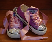 CUSTOM LISTING REBECCA  Lavender Low Top Converse with Swarovski Crystals and Lavender (Orchid) Laces