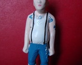 Bald hardcore beer belly punk action figure brooch pin