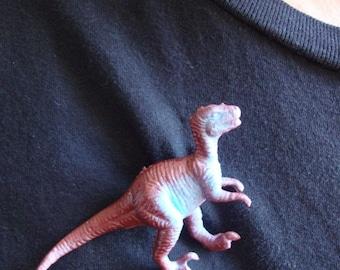 Maroon and Blue Raptor Dinosaur Brooch Pin - Dinosaur Pinback Button