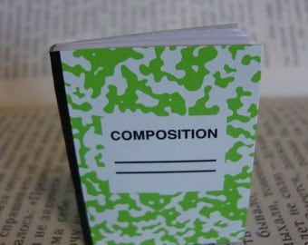 Itsy Bitsy Teeny Weeny Mini Composition Book Brooch Pin - 50 sheets - Bright Lime Green