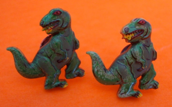 Green T-Rex Earrings - Post - Studs- Dinosaur Rawwr