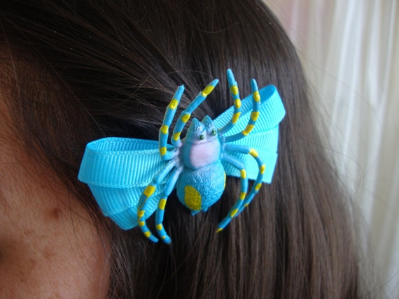 Electric Blue Spider on Electric Blue Bow French Barrette Hair Clip