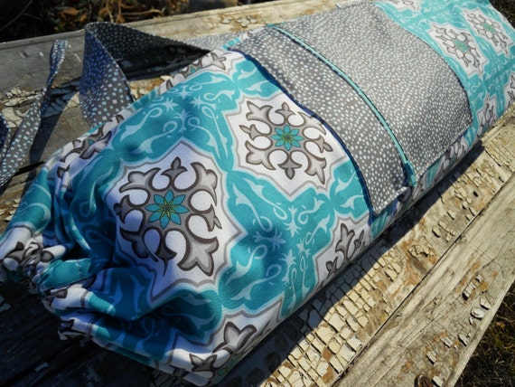 Yoga Bag in Turquoise and Grey Mandalas with a Zipper Pocket