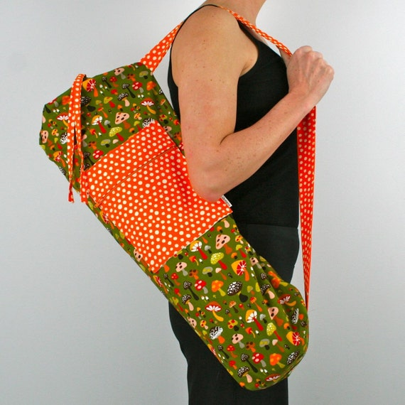 FREE SHIPPING- SALE Kids Yoga Mat Bag in Mushrooms with a Zipper Pocket