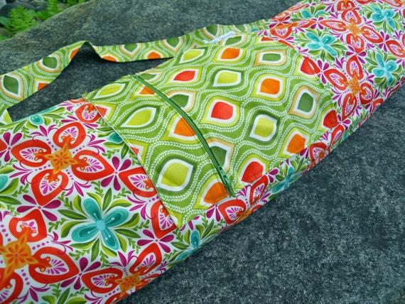 Yoga Bag in Kate Spain Terrain Mandalas with a Zipper Pocket
