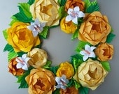 Yellow Rose Origami Paper Wreath With Green Leaves,  Thanksgiving Holiday Fall Wreath