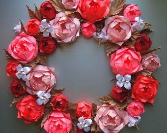 Valentine's Day Wreath, Pink Rose Origami Paper Wreath, Mother's Day Wreath, Easter Wreath, Floral Rose Door Wreath, Spring Wreath