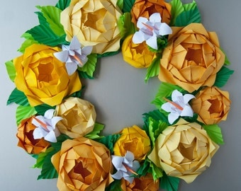 Yellow Rose Origami Paper Wreath With Green Leaves,  Mother's Day Wreath, Spring Wreath, Easter Wreath