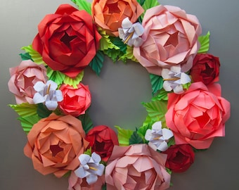 Pink Rose Origami Paper Wreath, Mother's Day Wreath, Spring Wreath, Easter Wreath