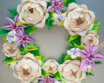 Cream Rose and Lavender Clematis  Origami Wreath,  Mother's Day Wreath, Spring Wreath, Easter Wreath