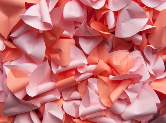 Pink and Peach Paper Rose Petals