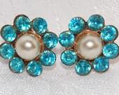 Aqua Blue Rhinestone and White Pearl Flower Screw Back Earrings at The Blue Hours