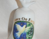 Porcelain Peace on Earth Dove Bell Collectible Figurine Bohemian Christmas Wedding Decor at The Blue Hours