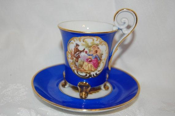 Courting Couple OTCO Cobalt Blue Italian Teacup and Saucer Set