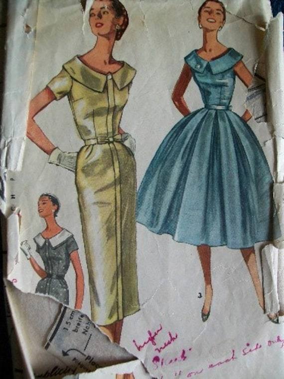 Vintage 1950's Simplicity Dress with Two Skirts Pattern Size 16