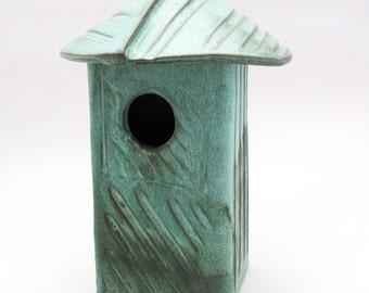 Stoneware Bird House-Ceramic Bird House-Home and Garden-Pottery Bird House-Bird-Teal-Home Decor