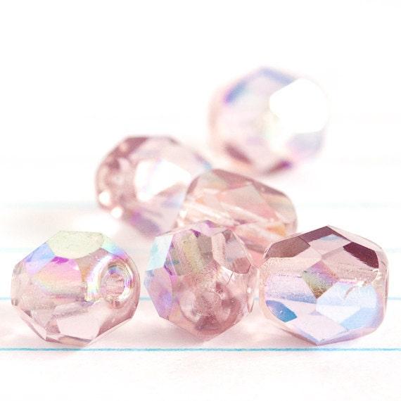 Purple Light Amethyst AB Rainbow Faceted Rounds - Czech Glass Beads (6mm) x 12