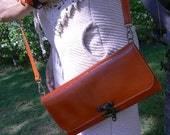 Free shipping Classic Leather Vintage Cross Body Clutch Prse Wallet in Orange