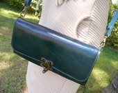 Classic Leather Cross Body Clutch  Purse Wallet in Turquoise