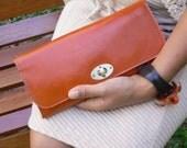 Classic Leather Cross Body Clutch  Bag Wallet  in Orange