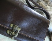 Bifold  Leather Wallet/Clutch in Black brown