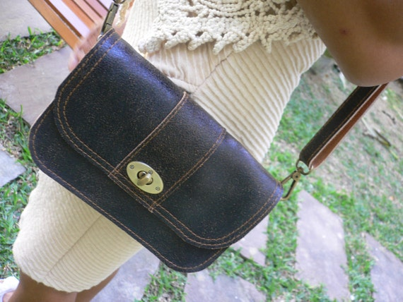Small Crossbody bag, cracked leather in Black