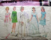 Vintage 1960s McCalls 9652 SEWING PATTERN BRIDE AND BRIDESMAIDS DRESS  EMPIRE WAISTLINE Size Small Bust/32