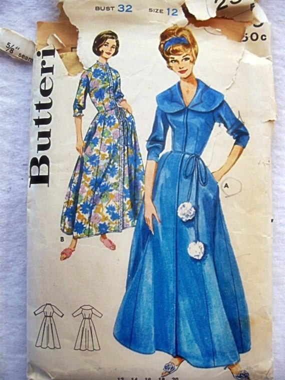 1960s Vintage Butterick 2369 Sewing Pattern Misses Mad Men  Hostess Gown and Robe Size 12 / Bust 32 by Vicki Vintage Patterns on Etsy