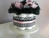 Japan Disaster Relief - Black and White Damask Diaper Cupcake Accented in Pink - Baby Shower Gift Centerpiece
