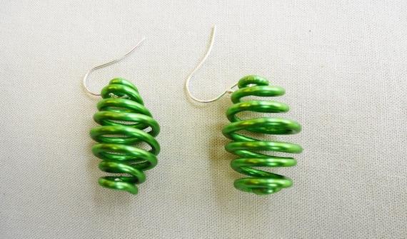 Groovy Green Spiral Earings