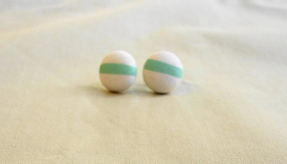 Green Line Button Earings