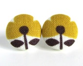 Mustard yellow stud earrings post flower white brown fall autumn