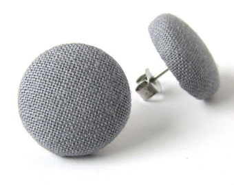 Solid gray stud earrings - grey button earrings - simple fabric covered jewelry