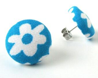 Tiny blue earrings - blue fabric earrings - blue button earrings - teal stud earrings white flower bright
