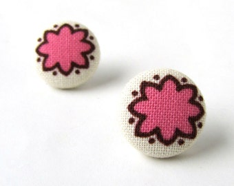 SALE Pink fabric earrings - tiny stud earrings - pink button earrings bright happy white brown - summer earrings