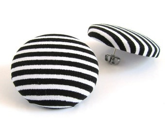 Large fabric earrings - big button earrings - striped stud earrings - black white yin yang